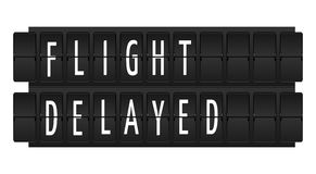 Flight delayed text Stock Photo