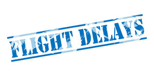 Flight delays blue stamp Royalty Free Stock Images