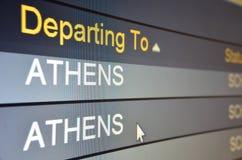 Flight departing to Athens. Computer screen closeup of Athens flight status Stock Image