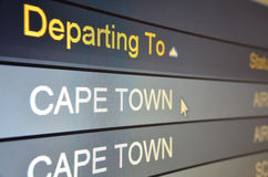Flight departing to Cape Town. Computer screen closeup of Cape Town flight status Royalty Free Stock Photo