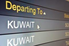 Flight departing to Kuwait. Computer screen closeup of Kuwait flight status Royalty Free Stock Images