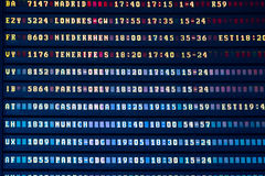 Flight Departure And Arrivals Information Board In Airport Terminal Royalty Free Stock Photo