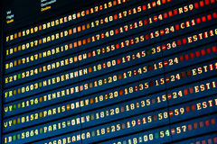 Flight Departure And Arrivals Of Planes Information Board In Airport Stock Photo