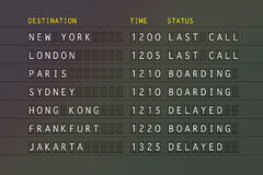 Flight departure board. Flight departure information board showing international destinations Stock Image