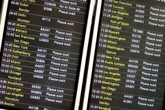 Flight departure board. Full frame detail of a departure board at a major International airport Royalty Free Stock Photography
