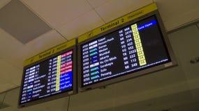 Flight Departure Information Asia Countries. Departure information for passengers or relatives at the Singapore terminal airport stock photos
