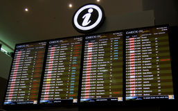 Flight departure schedule. SEPANG, MALAYSIA - MAY 10: Flight information display on May 10, 2014 at the new low cost carrier terminal (KLIA2) Kuala Lumpur royalty free stock photography