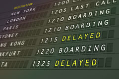Flight departures - delayed. Flight departure board showing delayed and boarding status Royalty Free Stock Photography