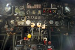 Contol panel on an airplane. Flight desk control panel on an airplane designed for aerial cartography, reconnaissance and transport. Old technology aircraft Royalty Free Stock Photography