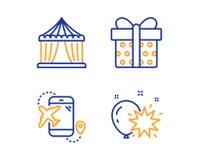 Flight destination, Circus tent and Gift box icons set. Balloon dart sign. Vector. Flight destination, Circus tent and Gift box icons simple set. Balloon dart royalty free illustration