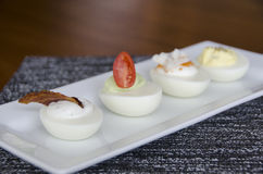 Flight of deviled eggs Stock Photography
