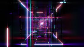 Flight through digital tunnel with glowing neon tubes and led lights. Seamlessly looped bright footage for VJ stock video footage
