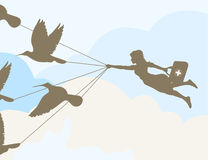 Flight of the doctor. The doctor flies on birds to the patient. A  illustration Royalty Free Stock Photography