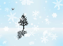 Flight of the dove. A single dove is flying toward a single tree in a stark winter landscape Stock Illustration