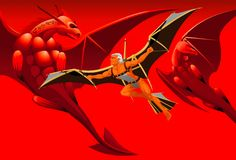 Flight with dragons. In the red sky two dragons and the man on self-made wings fly Stock Photo