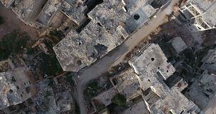 A flight of a drone over the city. In Syria stock footage