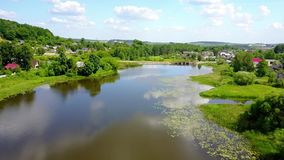 Flight drone over the picturesque river stock video footage
