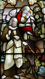 Flight into Egypt. A stained glass photo of the Flight into Egypt Stock Photo