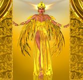 Flight Into Egyptian Fantasy. Adorned in a rich gold dress with golden wings; this Egyptian queen prepares to fly into the heart of the Pharaoh Stock Photo