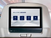 In-Flight Entertainment Screen, Seatback Screen in Airplane. LCD Screen in Airplane, Entertainment Screen in Airplane Royalty Free Stock Photography