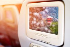 In flight entertainment seat-back TV screens. Showing a picture of Koyasu Pagoda at Kiyomizudera Temple, Kyoto, Japan Stock Images