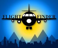 Flight Finder Means Flights Research 3d Illustration. Flight Finder Plane Means Flights Research 3d Illustration Royalty Free Stock Image