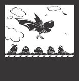 Flight of fish. It is black a white illustration of free flight of happy fish Stock Images