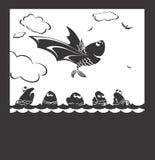 Flight of fish. It is black a white illustration of free flight of happy fish royalty free illustration