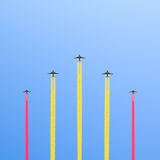 Flight of the five planes. Royalty Free Stock Images