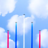 Flight of the five planes. Royalty Free Stock Photo