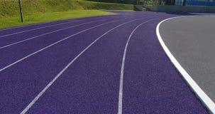 Flight forward over rubber sport track stock video