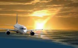 Flight in golden morning