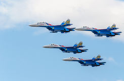 Flight groups of four su-27 aircraft Stock Images