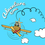 Flight. Hand drawn illustration. Happy pilot flying in the blue sky Stock Images