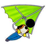 Flight on a hang-glider. Silhouette-man extreme sport icon - flight on a hang-glider Stock Photo