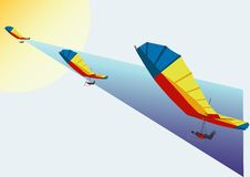 Flight on a hang-glider Royalty Free Stock Photography