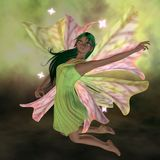 Flight of the Happy Fairy. Beautiful Exotic Fairy with long green hair and pink and pale green leaf wings. Happy, dancing and flying with magical stars Vector Illustration