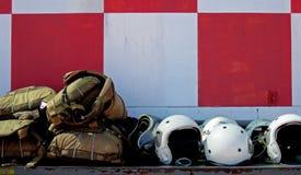 Flight Helmets, White, Bone Domes Stock Photography