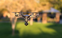 In Flight High-Tech Camera Drone UAS Royalty Free Stock Photos
