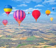 Flight of hot air balloons. Stock Images
