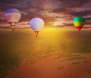 Flight of hot air balloons. Royalty Free Stock Image