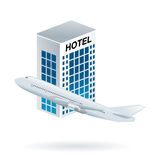 Flight and hotel travel option. Booking accommodation and flight tickets on the web in a unique solution promotional clip art, vector Royalty Free Stock Photo