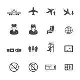 Flight icons. Mono vector symbols stock illustration