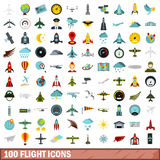 100 flight icons set, flat style Stock Photos