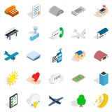 Flight icons set, isometric style. Flight icons set. Isometric set of 25 flight vector icons for web isolated on white background Royalty Free Stock Images