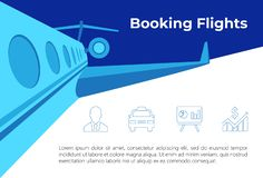 Flight illustration with icons stock illustration