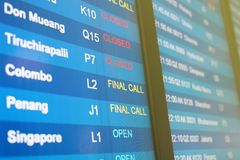 Flight info on billboard at the airport Royalty Free Stock Photo