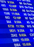 Flight information. On time departures for flights at airport on information screen Royalty Free Stock Photography