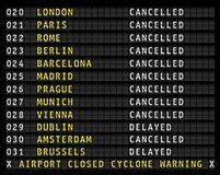 Flight information on airport displaying cancelled flight during Royalty Free Stock Images