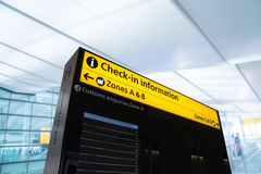 Flight information, arrival, departure at the airport, London, E Stock Images